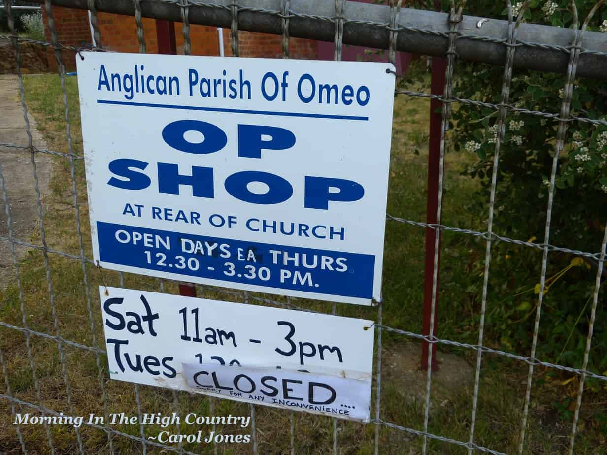Morning In The High Country. Omeo Op Shop Sign.
