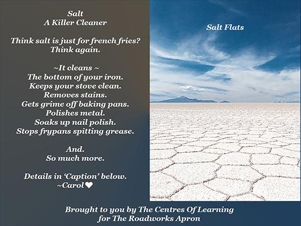 Salt. The Killer Cleaner. Tips From The Roadworks Apron.